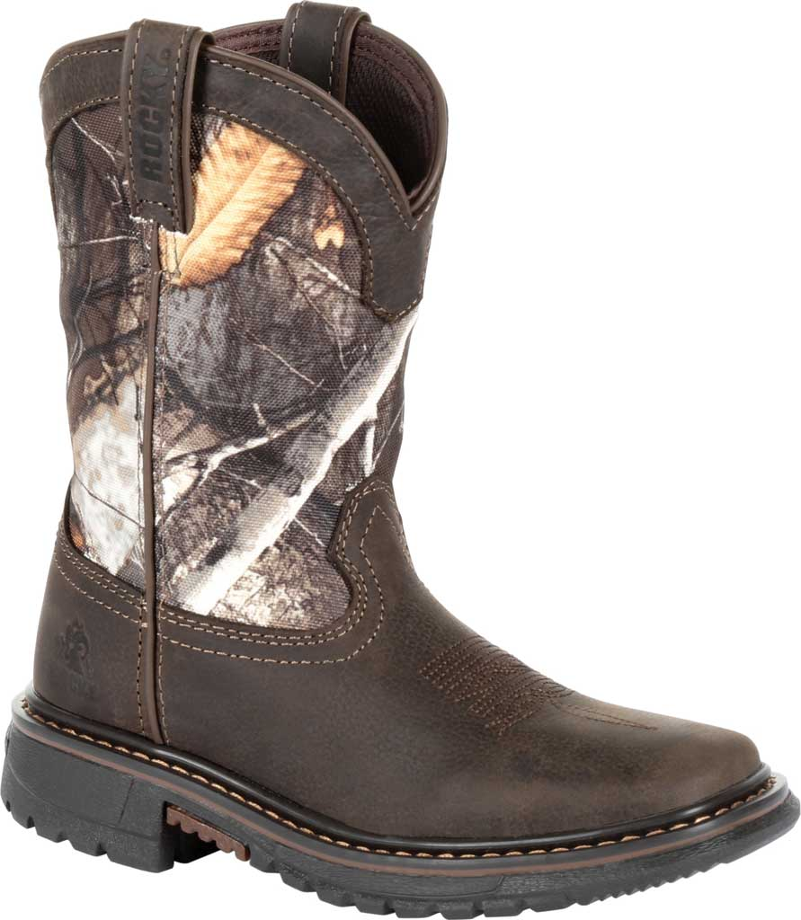 """Children's Rocky 8"""" Ride FLX Waterproof Western Boot RKW0258Y, Brown Realtree Camo Full Grain Leather/Synthetic, large, image 1"""