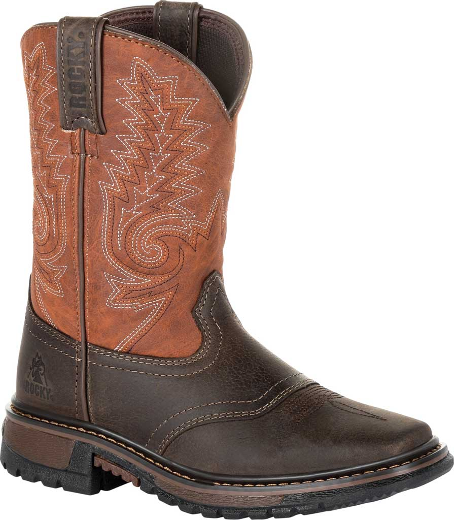 """Children's Rocky 8"""" Ride FLX Western Boot RKW0257C, Dark Chocolate/Burnt Orange Leather/Synthetic, large, image 1"""
