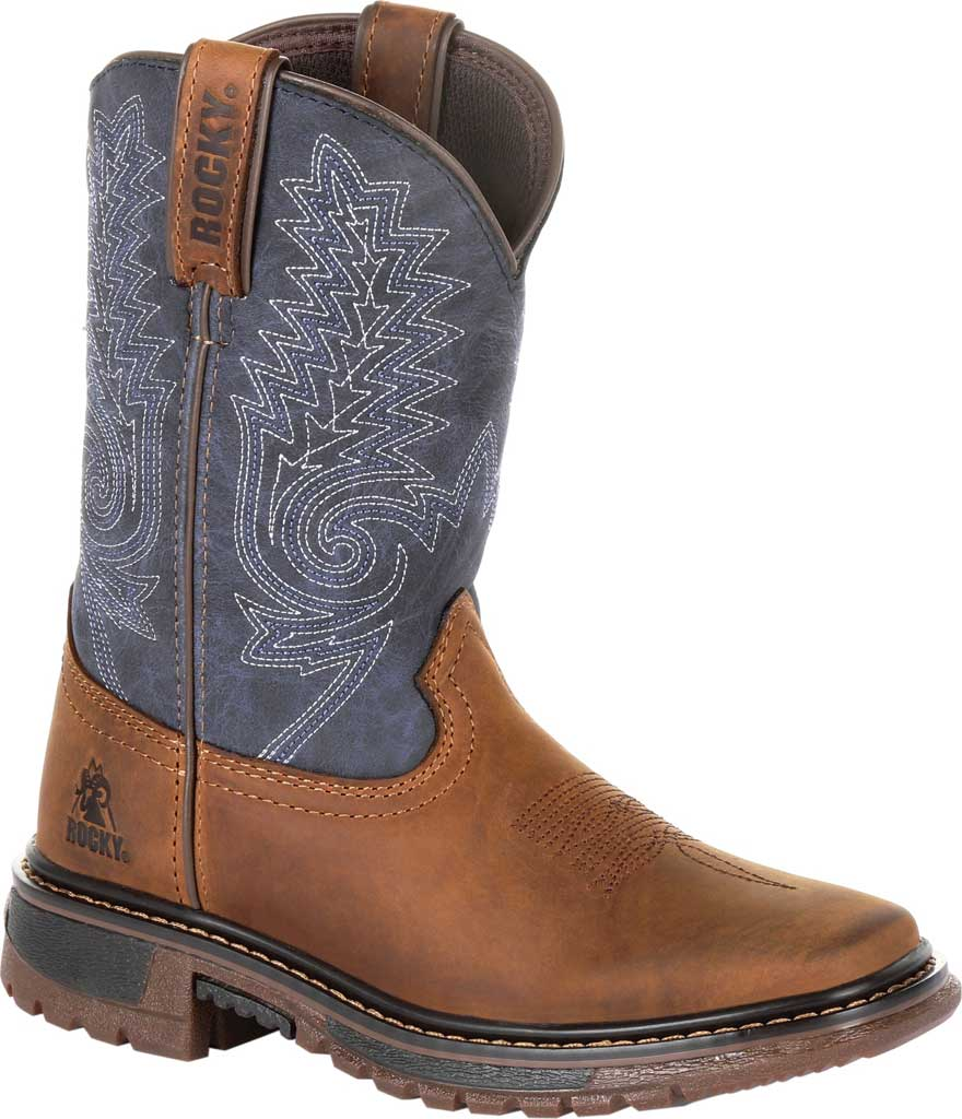 """Children's Rocky 8"""" Ride FLX Western Boot RKW0255C, Denim/Brown Full Grain Leather/Synthetic, large, image 1"""