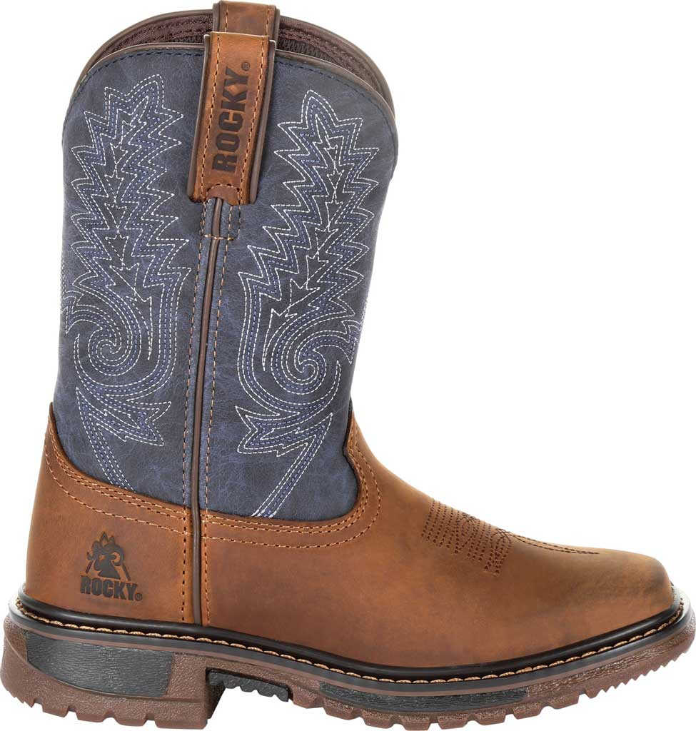"""Children's Rocky 8"""" Ride FLX Western Boot RKW0255C, Denim/Brown Full Grain Leather/Synthetic, large, image 2"""