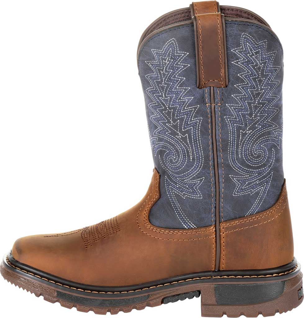 """Children's Rocky 8"""" Ride FLX Western Boot RKW0255C, Denim/Brown Full Grain Leather/Synthetic, large, image 3"""