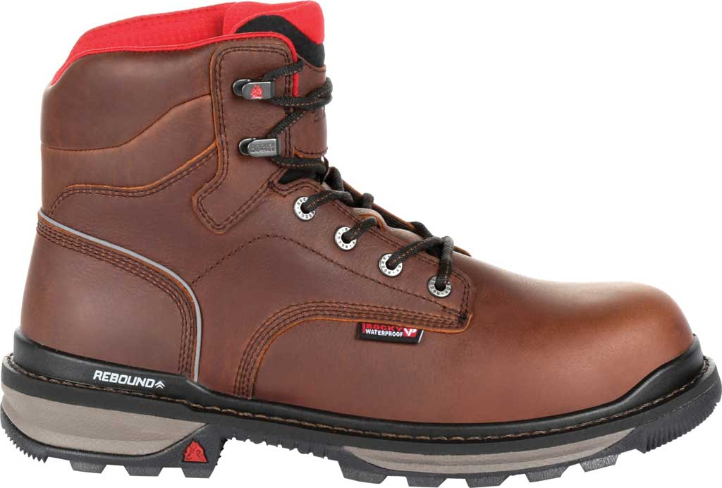 "Men's Rocky 6"" Rams Horn Waterproof Composite Toe Boot RKK0257, Dark Brown Full Grain Leather, large, image 2"