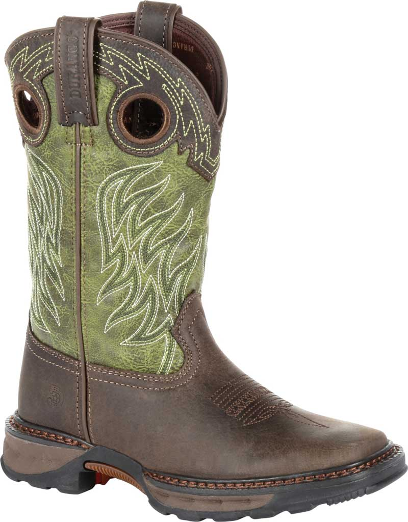 Children's Durango Boot DBT0215Y Maverick XP Western Boot, Oiled Brown/Forest Green Leather/Synthetic, large, image 1