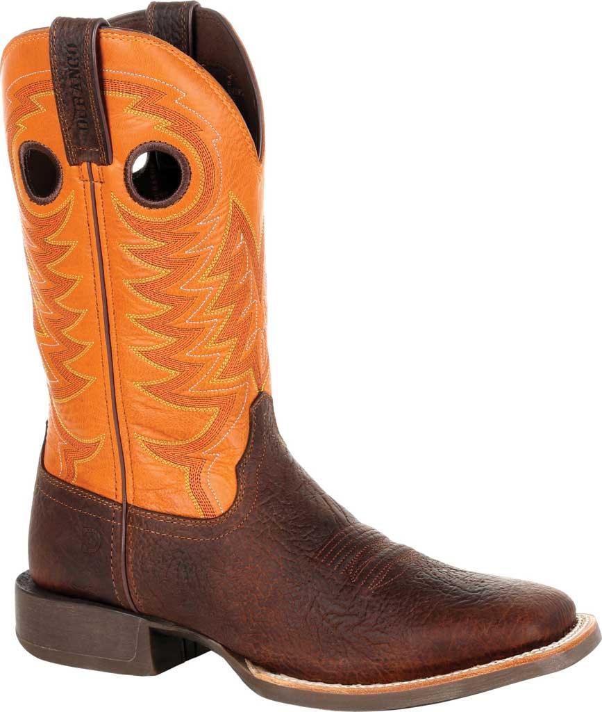 Men's Durango Boot DDB0230 Maverick XP Ventilated Western Work Boot, Bay Brown/Monarch Orange Full Grain Leather, large, image 1