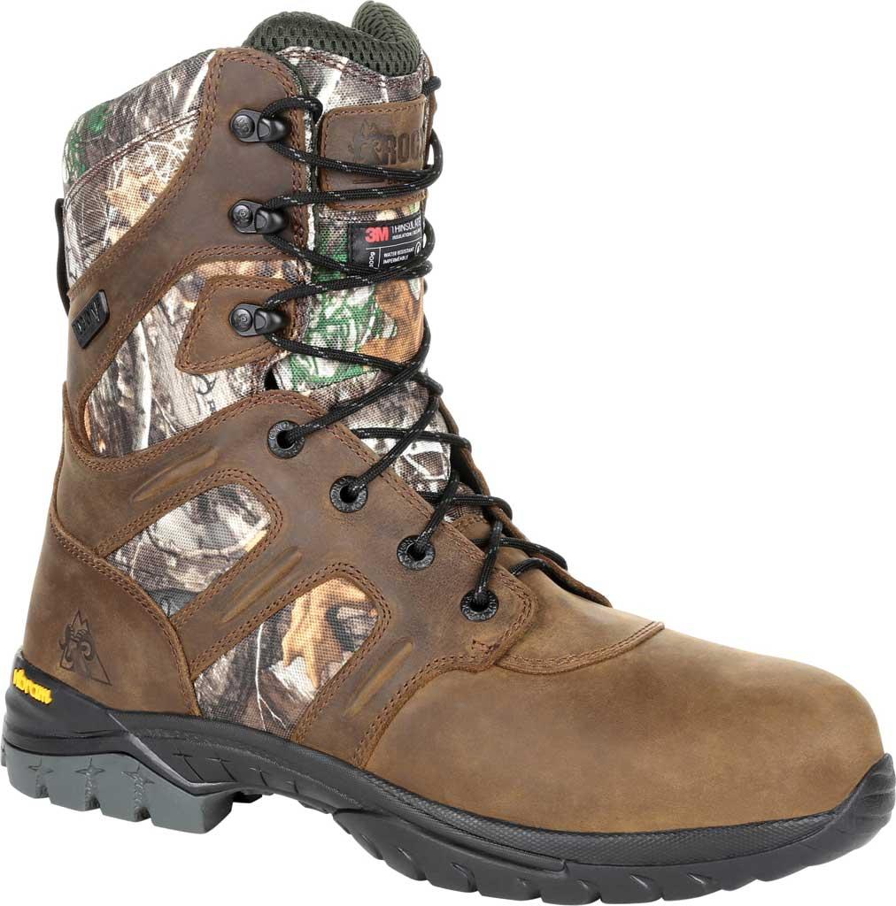 Men's Rocky Deerstalker Waterproof 800G Insulated Hiking Boot, Realtree Edge Full Grain Leather/Nylon, large, image 1