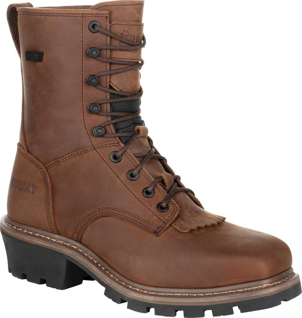 Men's Rocky Square Toe Logger Composite Toe Waterproof Boot, Dark Brown Full Grain Leather, large, image 1