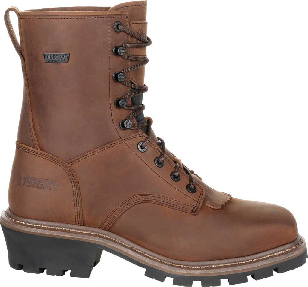 Men's Rocky Square Toe Logger Composite Toe Waterproof Boot, Dark Brown Full Grain Leather, large, image 2