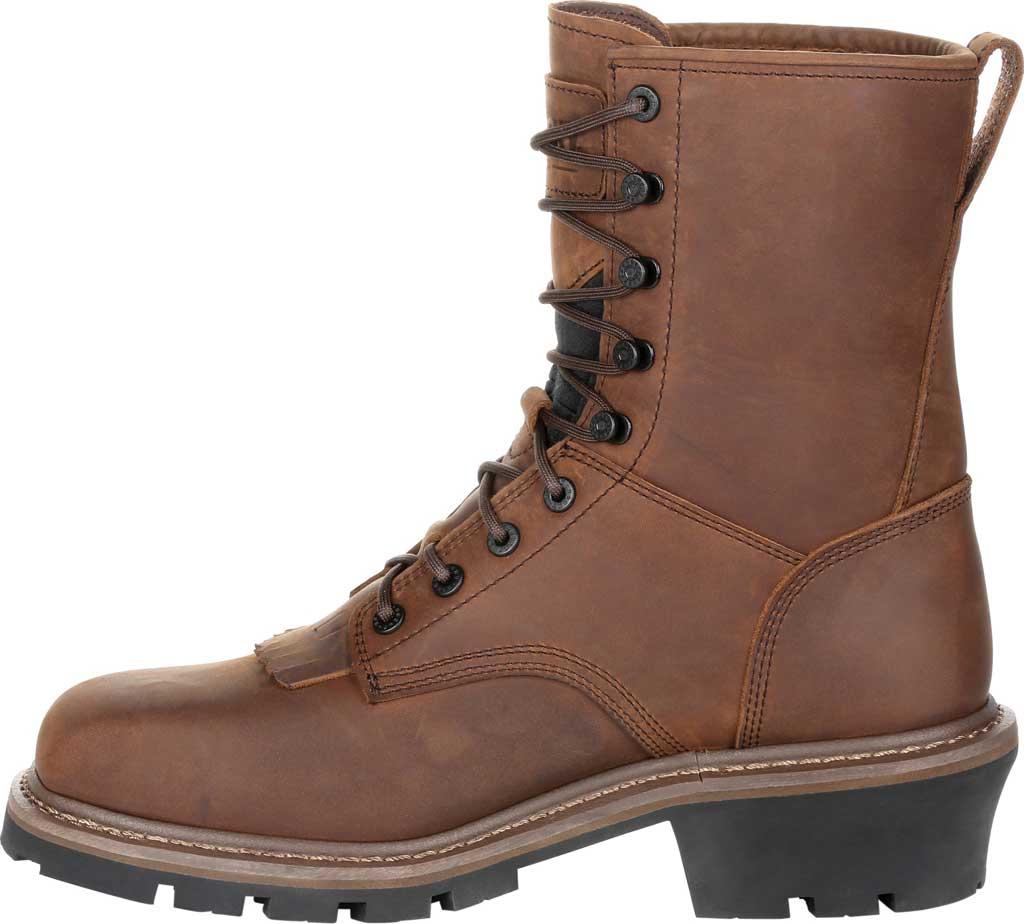 Men's Rocky Square Toe Logger Composite Toe Waterproof Boot, Dark Brown Full Grain Leather, large, image 3