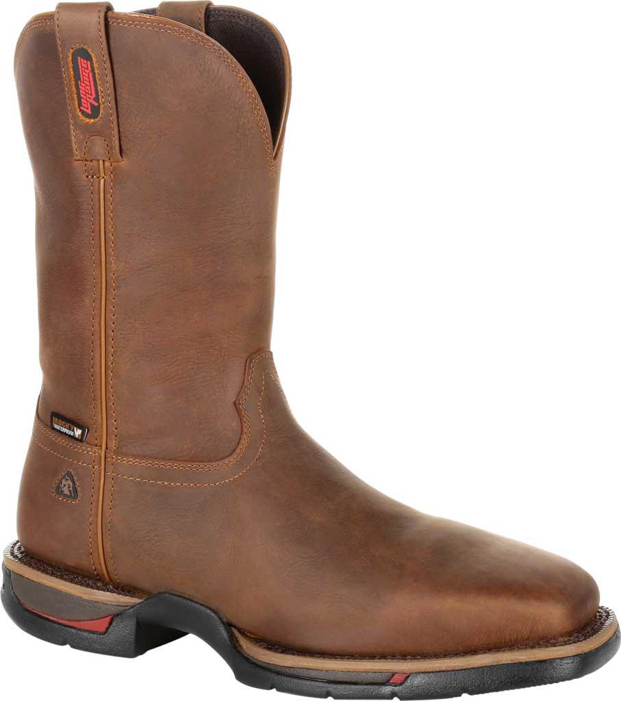 Men's Rocky Long Range Steel Toe Waterproof Western Boot, Brown Full Grain Leather, large, image 1
