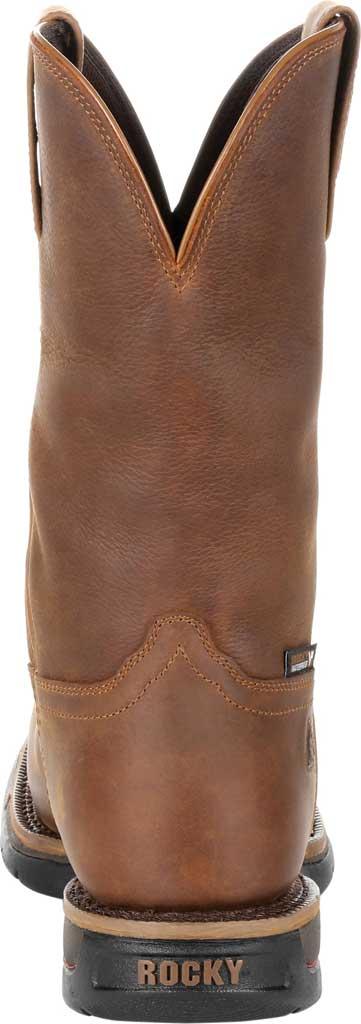 Men's Rocky Long Range Steel Toe Waterproof Western Boot, Brown Full Grain Leather, large, image 4