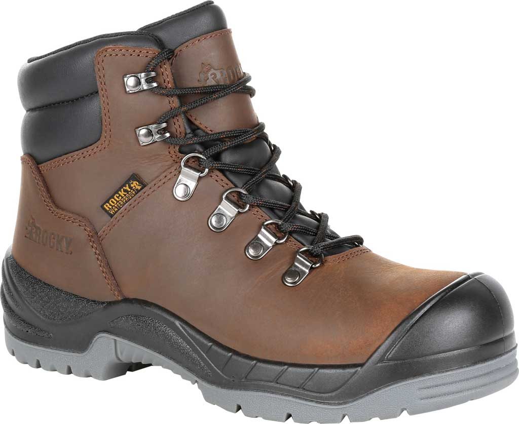 Women's Rocky Worksmart Waterproof Work Boot, Brown Full Grain Leather, large, image 1