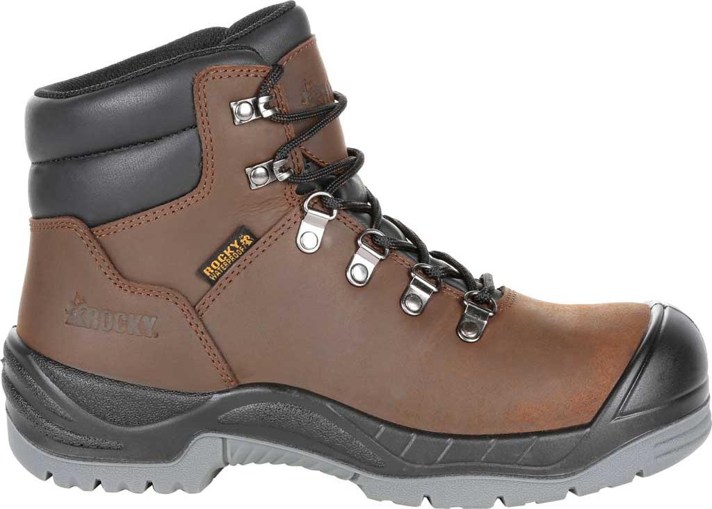 Women's Rocky Worksmart Waterproof Work Boot, Brown Full Grain Leather, large, image 2