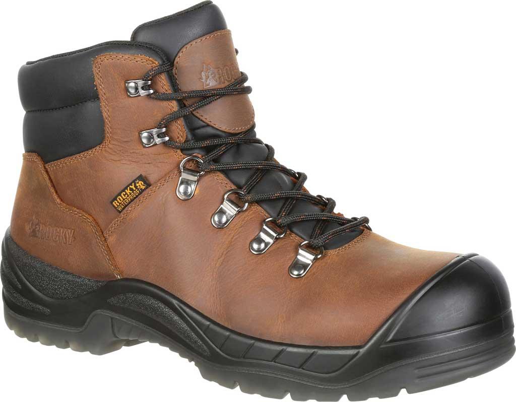 Men's Rocky Worksmart Waterproof Work Boot, Brown Full Grain Leather, large, image 1