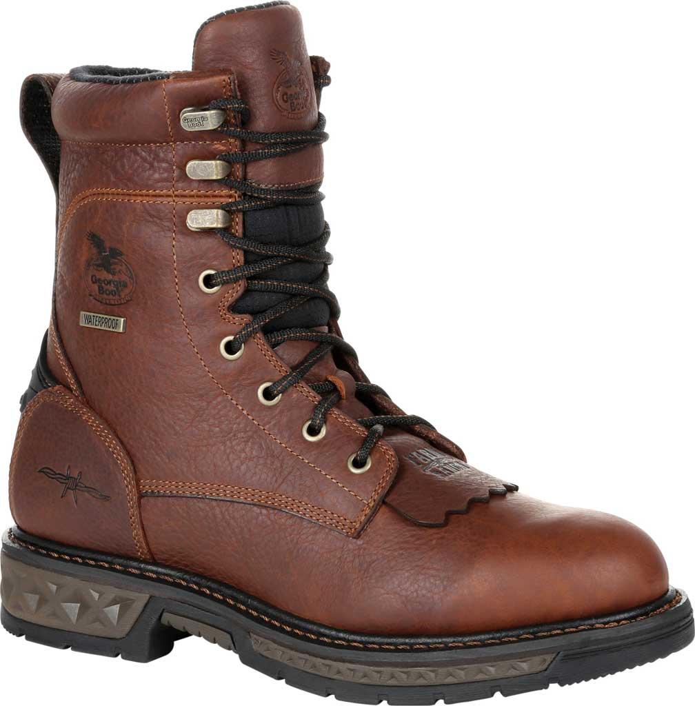 Men's Georgia Boot GB00309 Carbo-Tec LT Waterproof Lacer Work Boot, Brown Full Grain SPR Leather, large, image 1