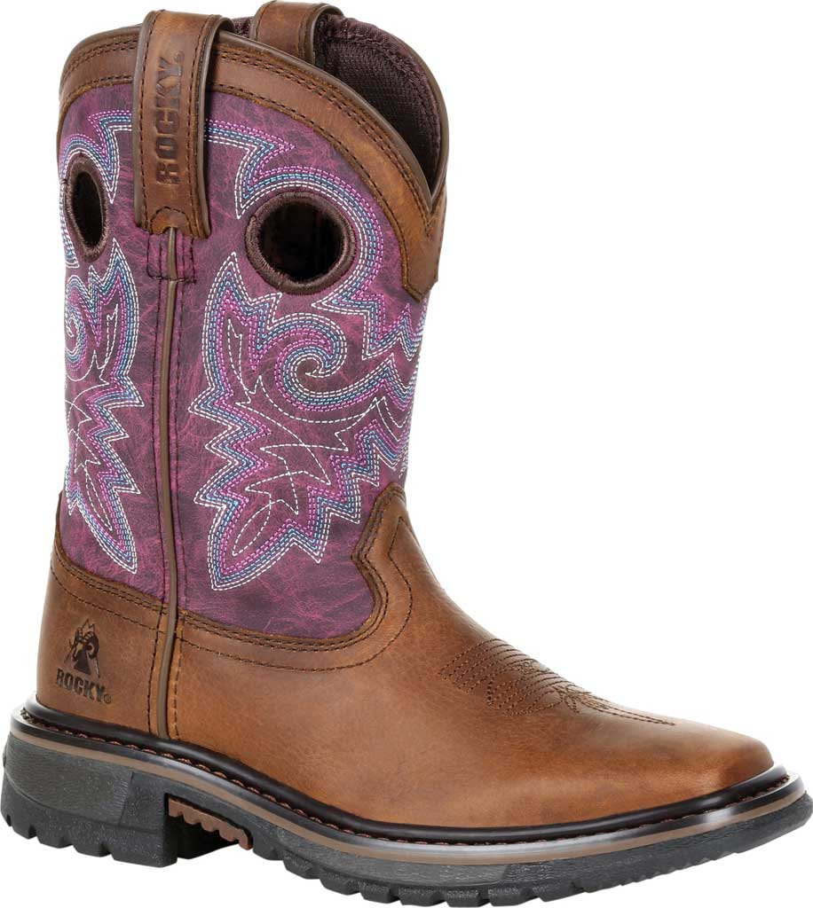 """Children's Rocky 8"""" Ride FLX Western Boot RKW0302Y - Big Kid, Brown/Purple Leather, large, image 1"""