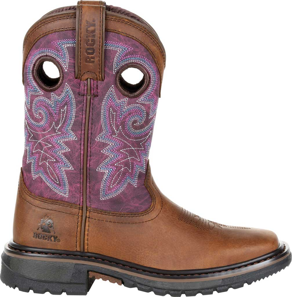 """Children's Rocky 8"""" Ride FLX Western Boot RKW0302Y - Big Kid, Brown/Purple Leather, large, image 2"""