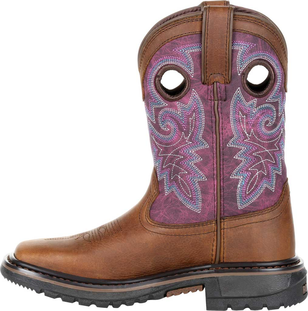 """Children's Rocky 8"""" Ride FLX Western Boot RKW0302Y - Big Kid, Brown/Purple Leather, large, image 3"""