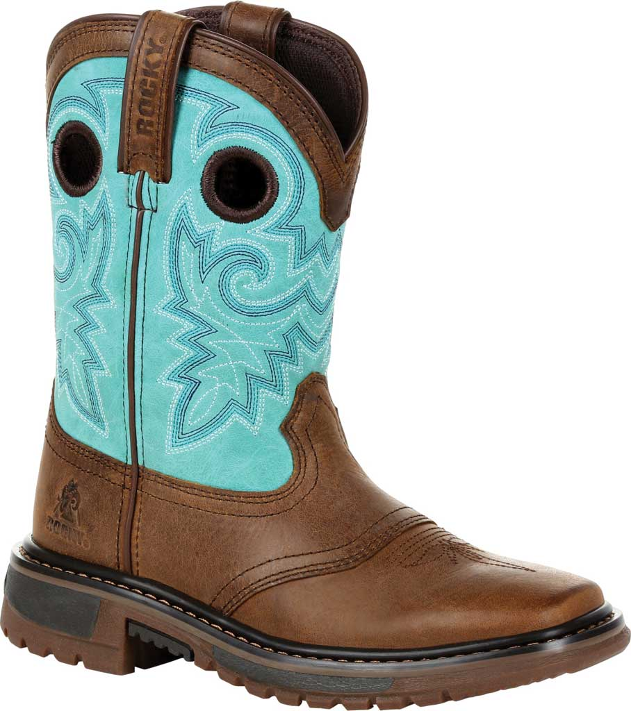 """Children's Rocky 8"""" Ride FLX Western Boot RKW0299Y - Big Kid, Saddle Brown/Teal Leather, large, image 1"""