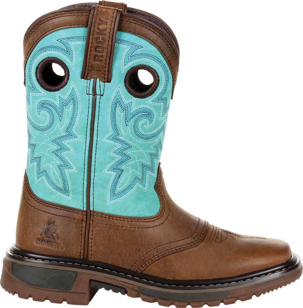 """Children's Rocky 8"""" Ride FLX Western Boot RKW0299Y - Big Kid, Saddle Brown/Teal Leather, large, image 2"""