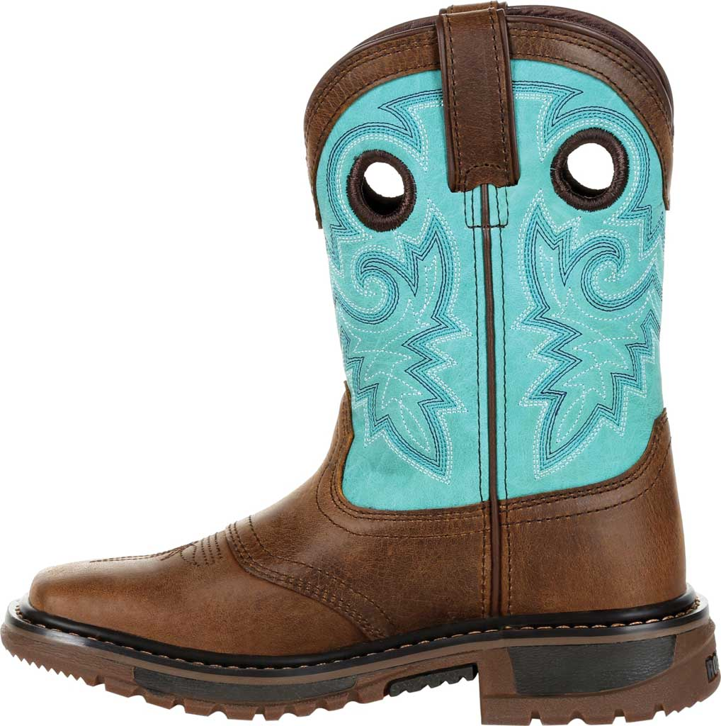 """Children's Rocky 8"""" Ride FLX Western Boot RKW0299Y - Big Kid, Saddle Brown/Teal Leather, large, image 3"""