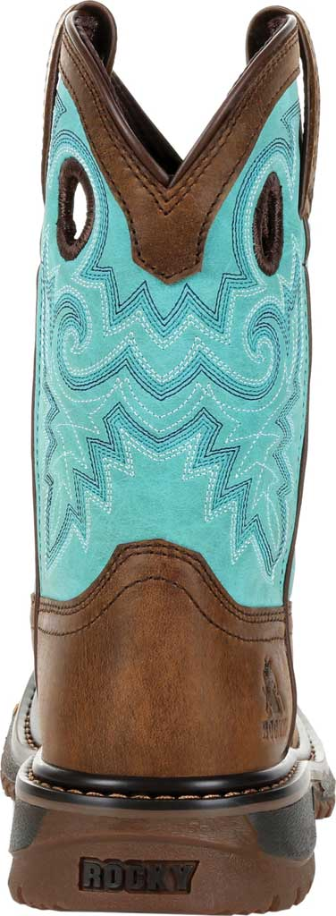 """Children's Rocky 8"""" Ride FLX Western Boot RKW0299Y - Big Kid, Saddle Brown/Teal Leather, large, image 4"""