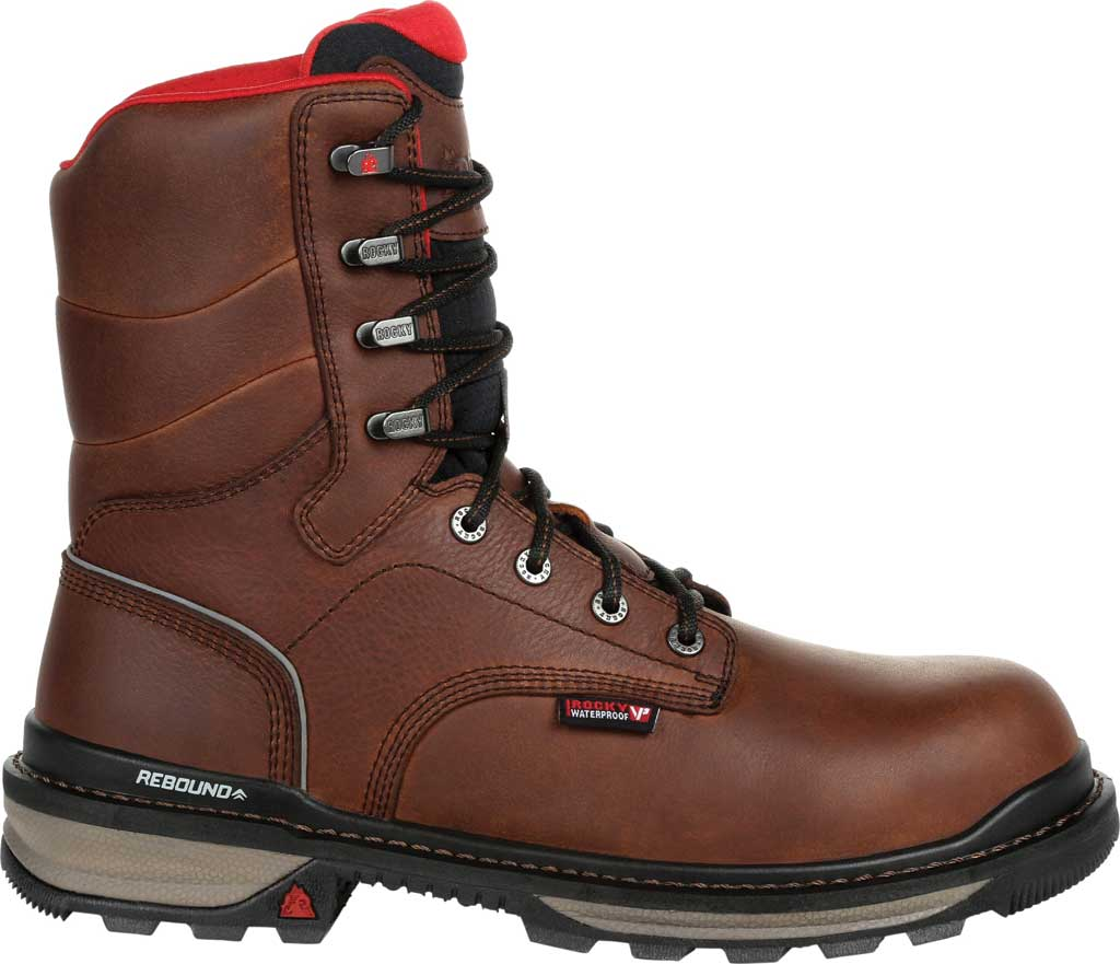 Men's Rocky Rams Horn Composite Toe Waterproof Work RKK0297, Dark Brown Leather, large, image 2