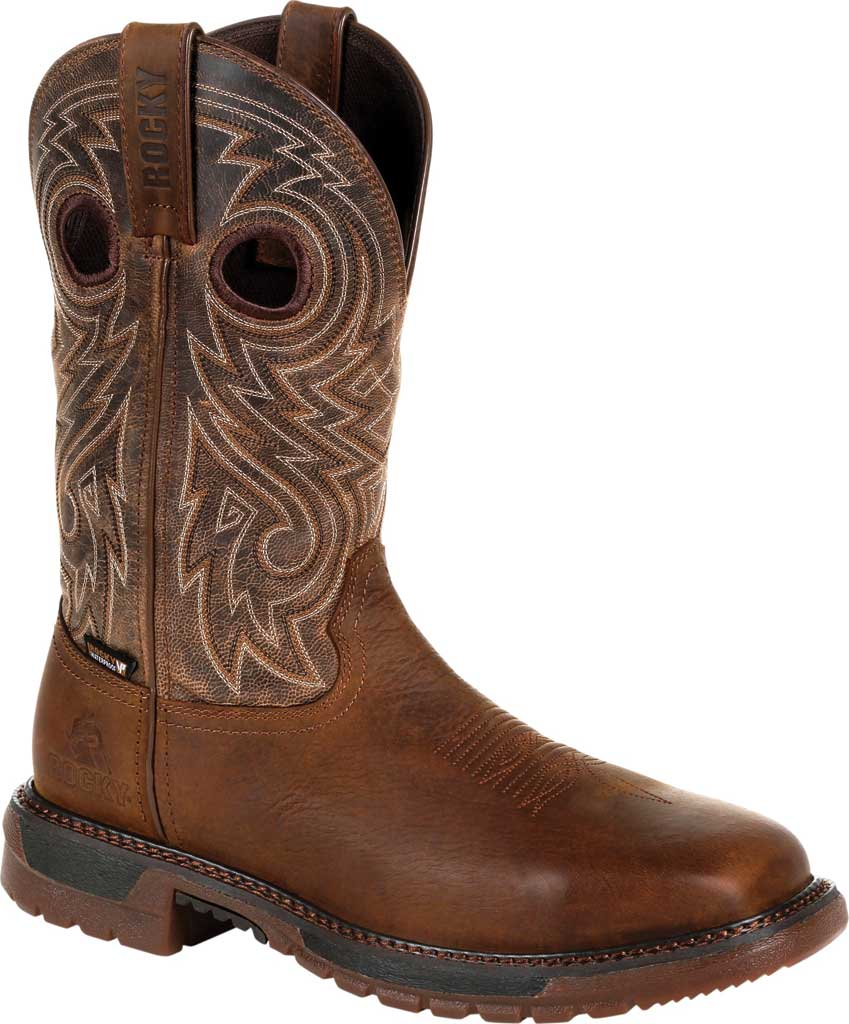 Men's Rocky Original Ride FLX Steel Toe Boot RKW0304, Brown Full Grain Leather, large, image 1