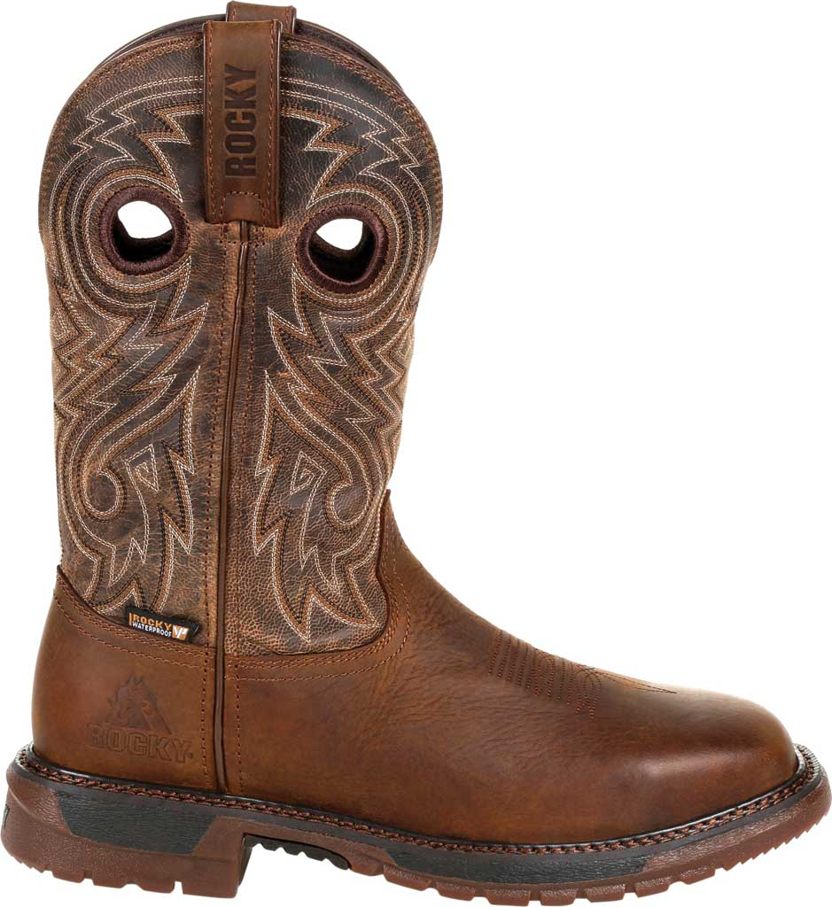Men's Rocky Original Ride FLX Steel Toe Boot RKW0304, Brown Full Grain Leather, large, image 2