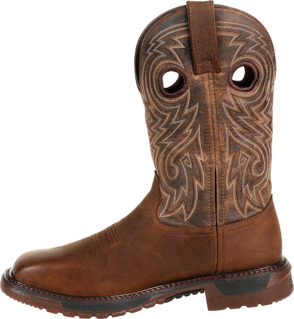 Men's Rocky Original Ride FLX Steel Toe Boot RKW0304, Brown Full Grain Leather, large, image 3