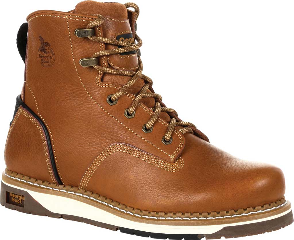 Men's Georgia Boot GB00348 Wedge Steel Toe Work Boot, Brown Full Grain Leather, large, image 1