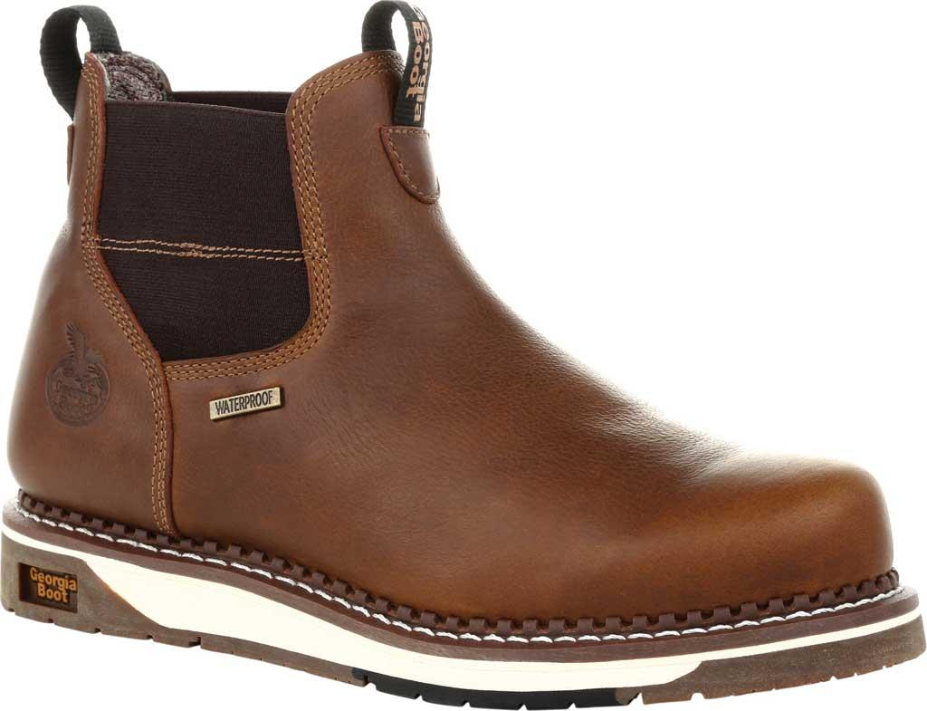 Men's Georgia Boot GB00353 Wedge Steel Toe Waterproof Chelsea Boot, Brown Full Grain Leather, large, image 1