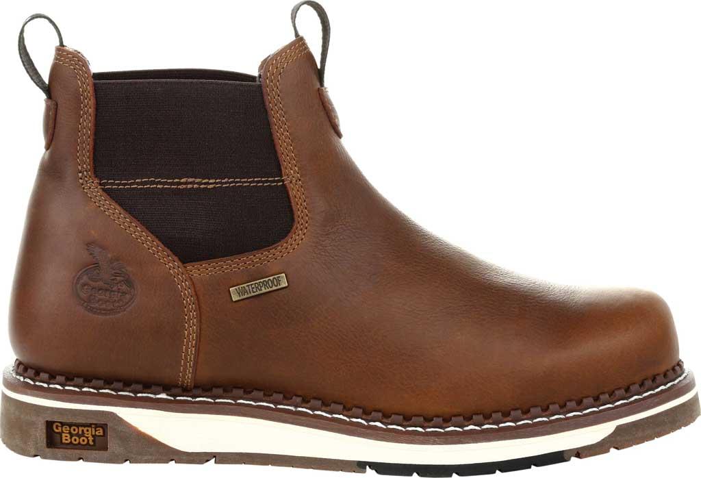 Men's Georgia Boot GB00353 Wedge Steel Toe Waterproof Chelsea Boot, Brown Full Grain Leather, large, image 2