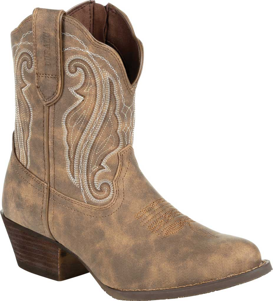Women's Durango Boot DRD0372 Crush Distressed Shortie Western Boot, Driftwood Faux Leather, large, image 1