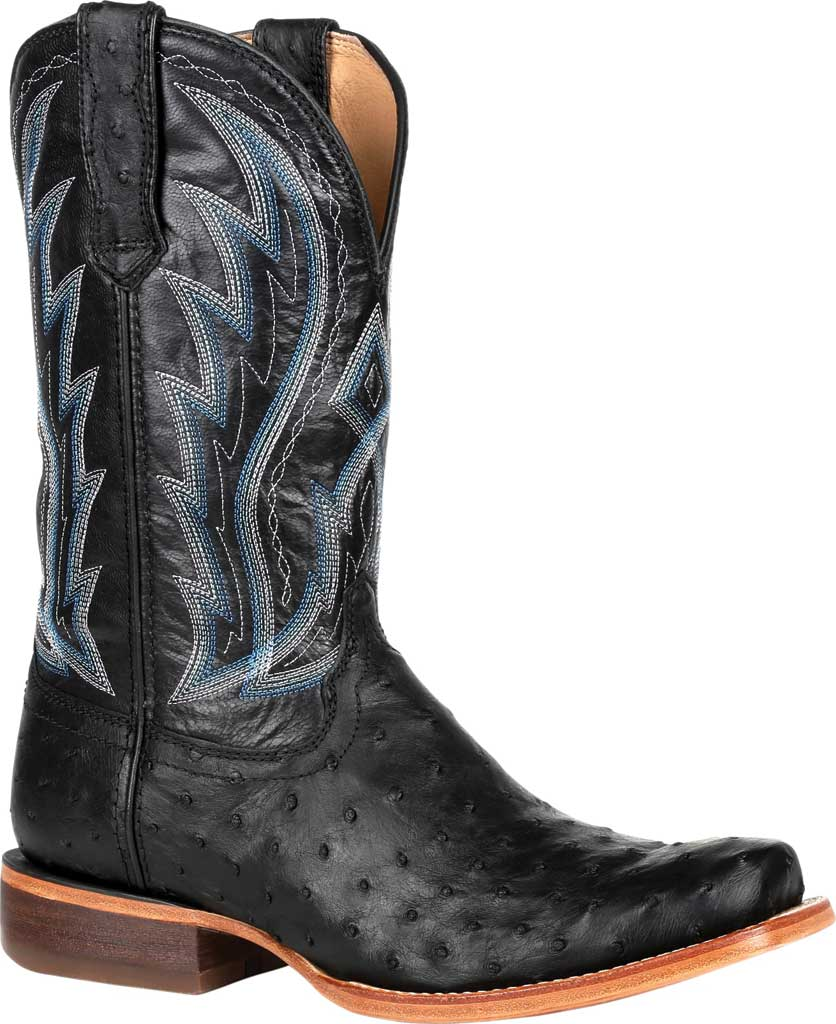 Men's Durango Boot DDB0275 Exotic Full-Quill Ostrich Western Boot, Midnight Ostrich/Full Grain Leather, large, image 1