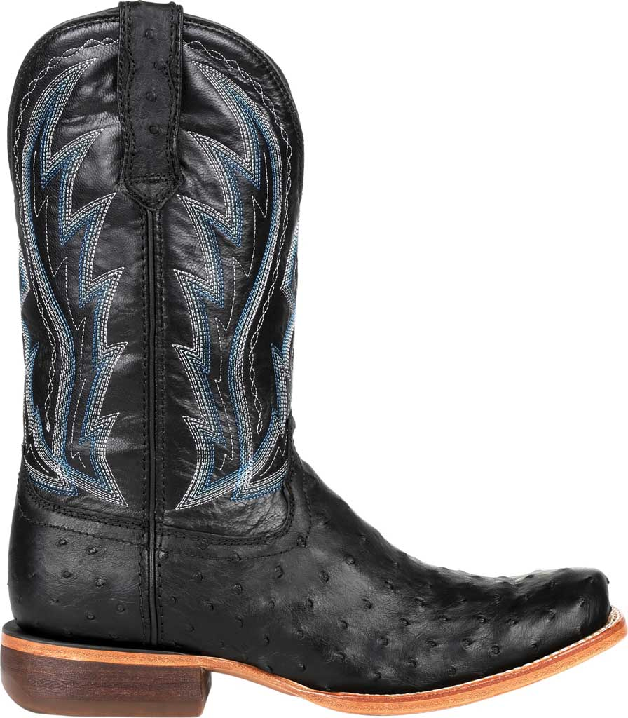 Men's Durango Boot DDB0275 Exotic Full-Quill Ostrich Western Boot, Midnight Ostrich/Full Grain Leather, large, image 2