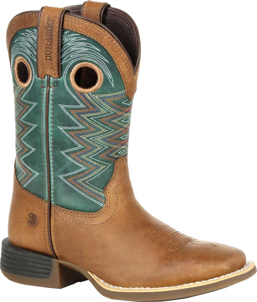 Children's Durango Boot DBT0224Y Lil' Rebel Pro Big Kid Western Boot, Wheat/Tidal Teal Full Grain Leather/Faux, large, image 1