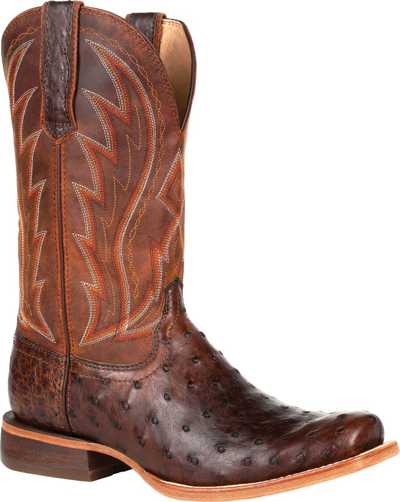 Men's Durango Boot DDB0276 Exotic Full-Quill Ostrich Western Boot, Antiqued Chestnut Ostrich/Full Grain Leather, large, image 1