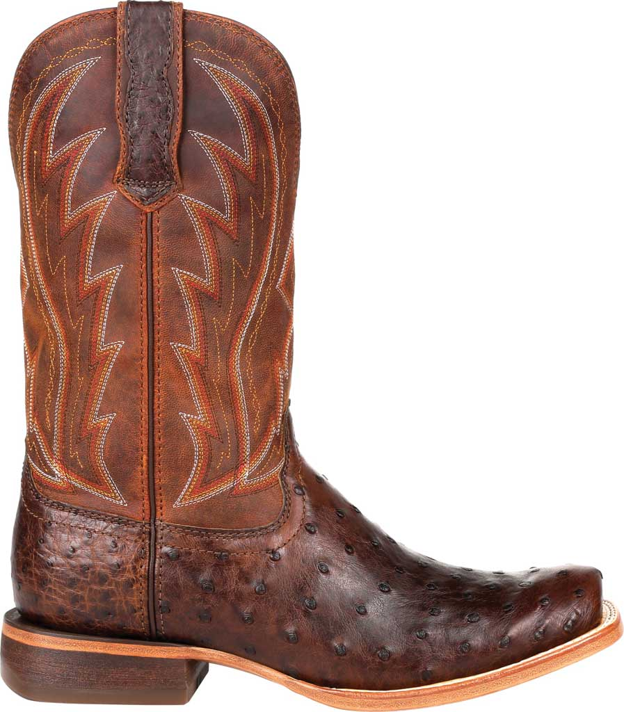 Men's Durango Boot DDB0276 Exotic Full-Quill Ostrich Western Boot, Antiqued Chestnut Ostrich/Full Grain Leather, large, image 2