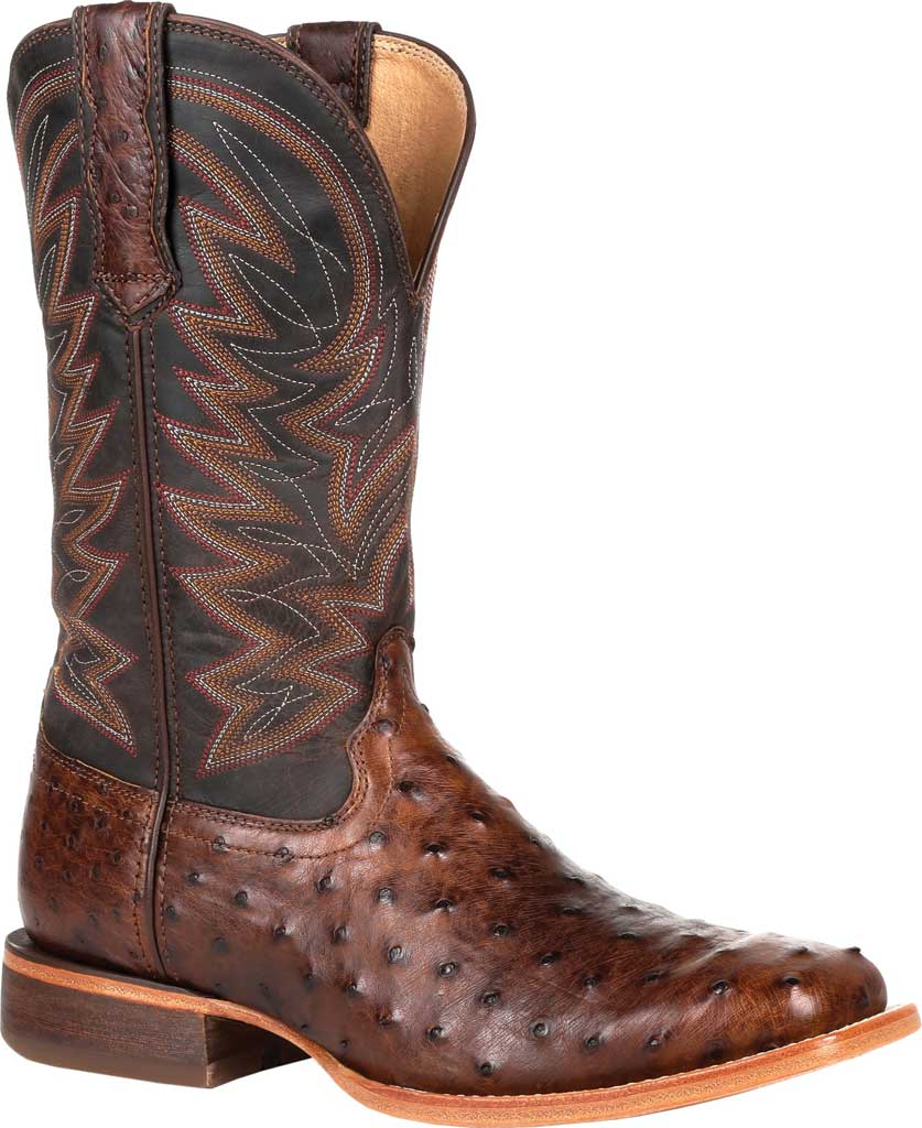 Men's Durango Boot DDB0274 Exotic Full-Quill Western Boot, Antiqued Saddle Ostrich/Full Grain Leather, large, image 1