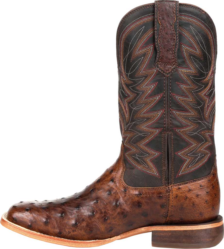 Men's Durango Boot DDB0274 Exotic Full-Quill Western Boot, Antiqued Saddle Ostrich/Full Grain Leather, large, image 3