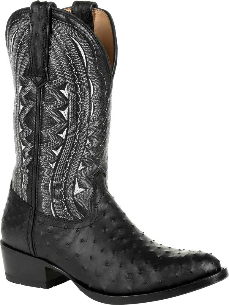 Men's Durango Boot DDB0278 Exotic Full-Quill Ostrich Western Boot, Ebony Ostrich/Full Grain Leather, large, image 1