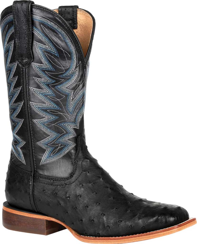 Men's Durango Boot DDB0273 Exotic Full-Quill Ostrich Western Boot, Black Onyx Ostrich/Full Grain Leather, large, image 1