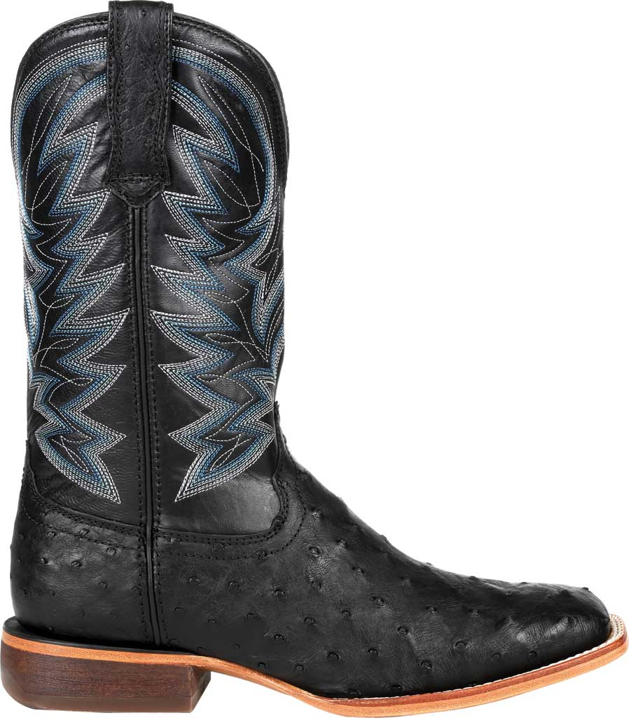 Men's Durango Boot DDB0273 Exotic Full-Quill Ostrich Western Boot, Black Onyx Ostrich/Full Grain Leather, large, image 2