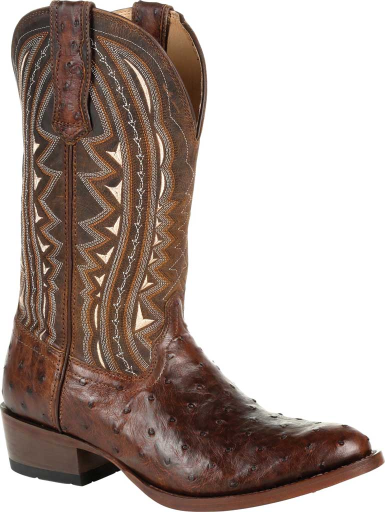 Men's Durango Boot DDB0277 Exotic Full-Quill Ostrich Western Boot, Oiled Saddle Ostrich/Full Grain Leather, large, image 1