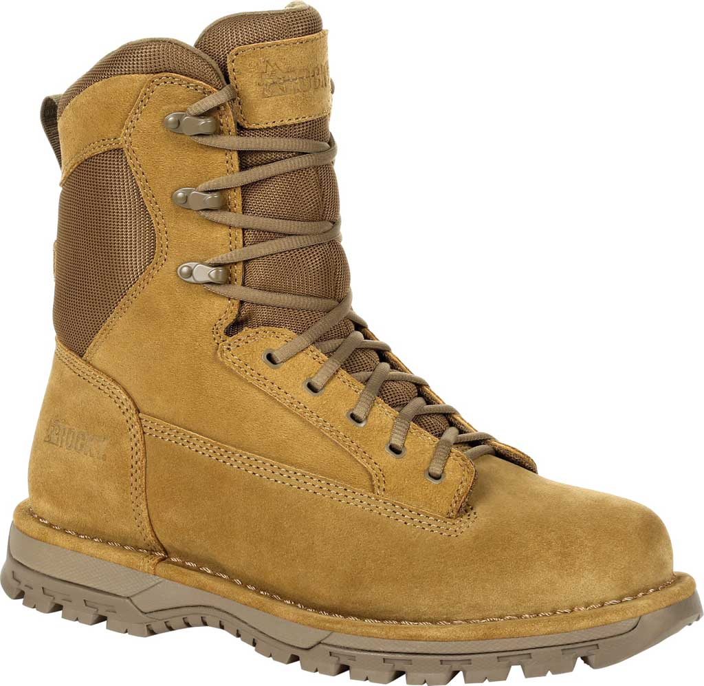 """Men's Rocky Portland 8"""" Coyote Public Service Boot RKD0069, Coyote Brown Full Grain Leather, large, image 1"""