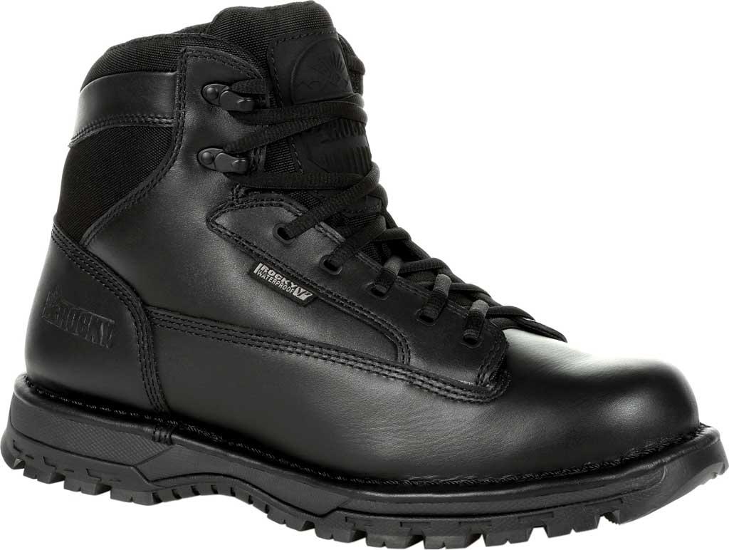 "Men's Rocky Portland 6"" Side Zip WP Service Boot RKD0071, Black Full Grain Leather, large, image 1"