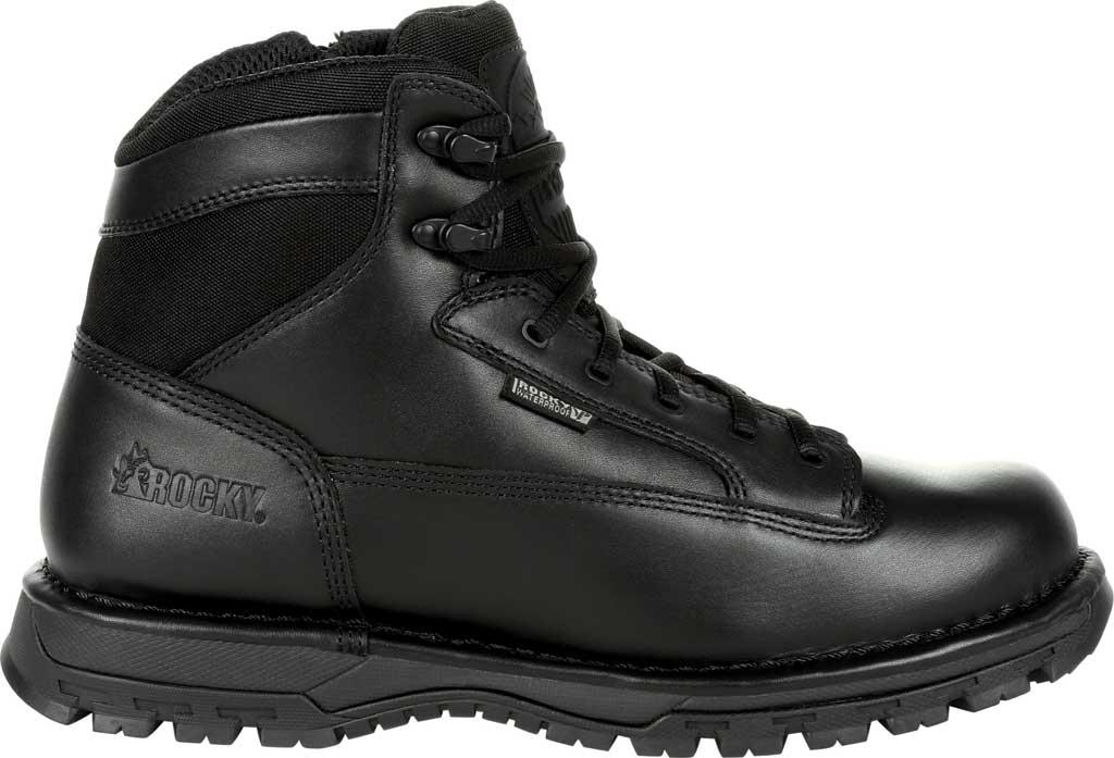 "Men's Rocky Portland 6"" Side Zip WP Service Boot RKD0071, Black Full Grain Leather, large, image 2"