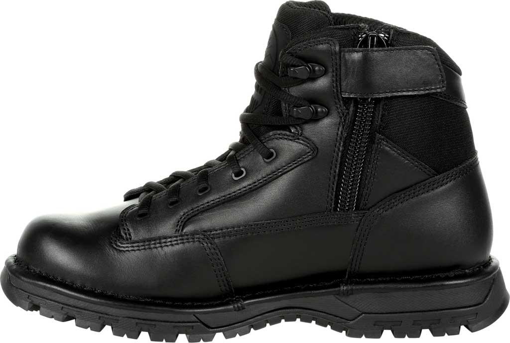 "Men's Rocky Portland 6"" Side Zip WP Service Boot RKD0071, Black Full Grain Leather, large, image 3"