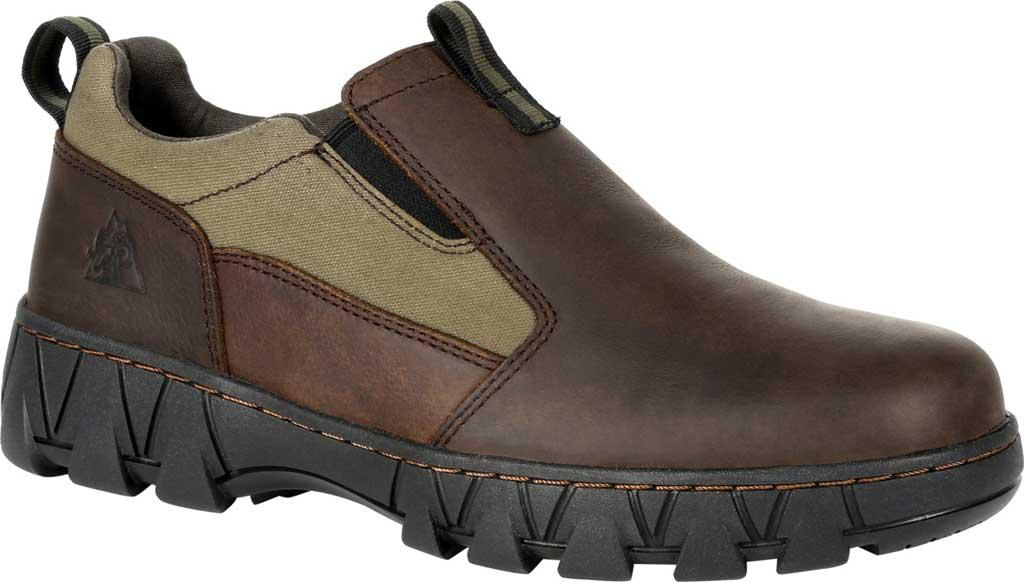 Men's Rocky Oak Creek Slip On Shoe RKS0483, Brown/Green Waxhide Canvas/Full Grain Leather, large, image 1