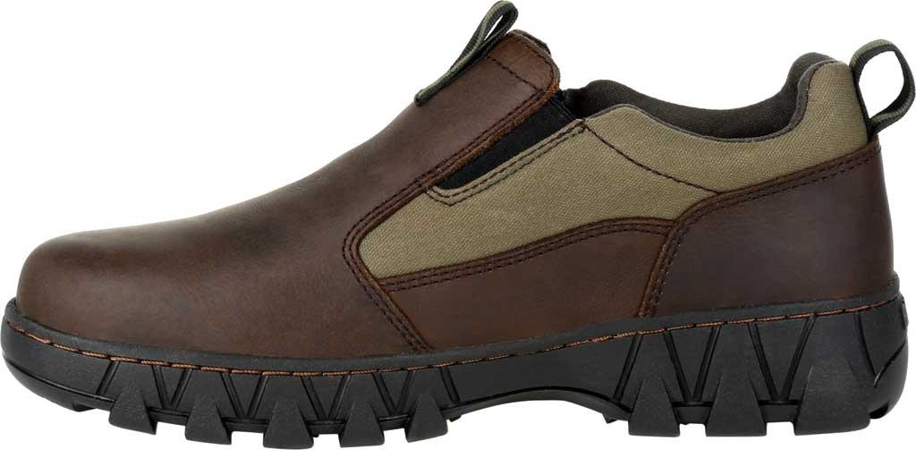 Men's Rocky Oak Creek Slip On Shoe RKS0483, Brown/Green Waxhide Canvas/Full Grain Leather, large, image 3
